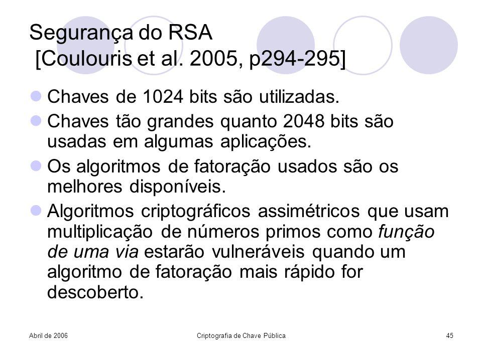 Segurança do RSA [Coulouris et al. 2005, p294-295]